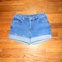 Vintage Denim Cut Offs - 90s Stone Washed Stretch Jean Shorts - High Waisted Cut Off/Frayed/Rolled up/Distressed SHORT Shorts Size 11/12 14