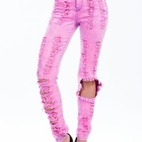 In Distress High-Waisted Neon Jeans