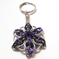 Star key chain Purple silver and black Celtic by DoBatsEatCats