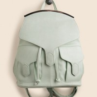 Take Note Faux Leather Backpack In Mint