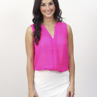 Front Pleats Top Hot Pink » Vertage Clothing