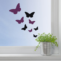 Set Of Butterflies Decal - Velvet Butterflies Wall Art - Black And Purple Butterflies