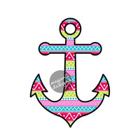 Anchor Car Decal Sticker: Colorful Summer Tribal Pattern Nautical Beach Bumper Sticker Laptop Decal Pink Blue Teal Green