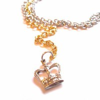 Silver and Gold Adjustable Belly Chain Waist Chain with Crown Charm | StarlightSarah - Jewelry on ArtFire