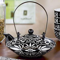 Black/White Hand painted Teapot | Tea Time | World Market