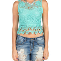Crochet Open Back Tie Tank - Mint