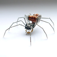 Spider Sculpture No 50 Recycled Watch Parts Clockwork Arachnid Figurine Stems Electrical Wire Arthropod A Mechanical Mind Gershenson