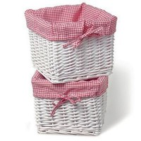 Burlington Baby Small White Willow Basket Set with Liner