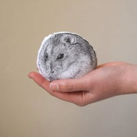 hamster soft toy siberian hamster portrait pet home decor animal plush black and white hand painted