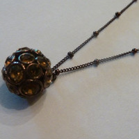 Vintage Fossil Amber Pave Crystal Ball Necklace Pendant Costume Jewelry