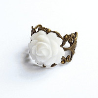 Filigree Flower Ring, Antiqued Brass Filigree Ring with White Lucite Rose - by SkyeDancerJewelry on Etsy