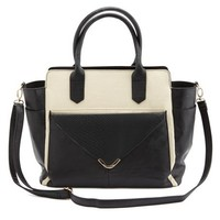 TWO-TONE CONVERTIBLE TOTE WITH BUILT-IN CLUTCH