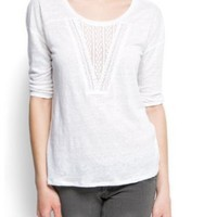 Mango Women's Loose-fit Lace T-shirt