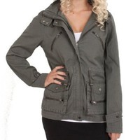 Romeo & Juliet Couture Hooded Jacket in Olive