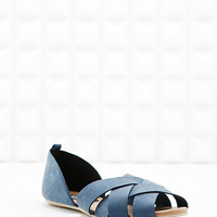 Deena & Ozzy Java Lattice Flat Sandals in Navy - Urban Outfitters