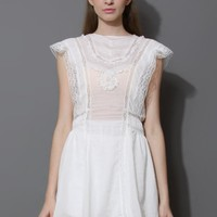 White Lace Trimmed Smock Dress
