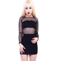 Complement your bold personality with this Rebel Intention Fishnet Cutout Dress by 24 Hrs! This sexy bodycon cutout dress contrast with semi-sheer fishnet construction with built in bandeau, round neckline, and long fishnet sleeves, form fitting skirt.