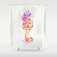Seahorse Shower Curtain by Allison Reich