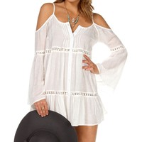 White Long Sleeve Cold Shoulder Top