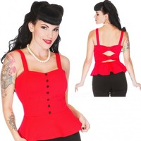 Voodoo Vixen Red Peplum Top | Classic Pin Up Rockabilly Style