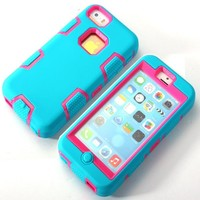 KAPA(TM) 3in1 Rubber Combo Hard Soft High Impact Armor Case Skin Gel Case for Apple iPhone 5C Teal Pink