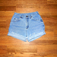 Vintage Denim Cut Offs - 80s Stone Washed Stretch Jean Shorts - High Waisted Cut Off/Frayed/Rolled up/Distressed LEE Shorts Size 5/6 7/8