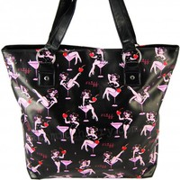 Fluff Cocktail Pin Up Girl Tote Bag | Retro Rockabilly