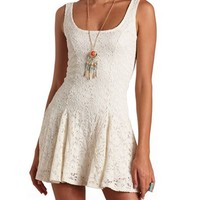 ALLOVER CROCHETED LACE SKATER DRESS