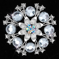 Pugster Bridal Party Brooch Pin Pendant Clear Austrian White Rhinestone Wedding