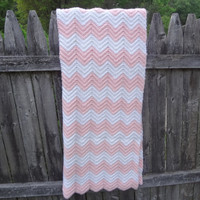 Pink And White Chevron Zig Zag Afghan Lap by farmchicsophisticate