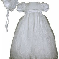 White Embroidered Tulle Christening Baptism Gown