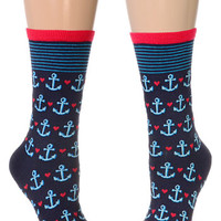 Sweet Sailor Anchor Socks in Navy - PLASTICLAND