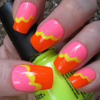 Neon Ruffles Nail Art Set of 20 Artificial Nails by EmineeGoods
