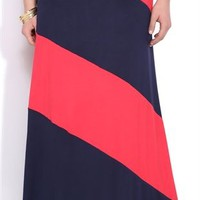 Plus Size Colorblock Maxi Skirt with Fold Over Waistband