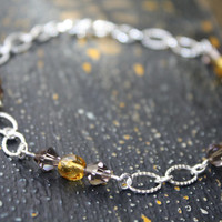 Anklet, Silver Anklet, Silver Plated Anklet, Metal Anklet, Glass Beaded Anklet, Summer Anklet, Yellow Topaz Anklet, Anklet for Women