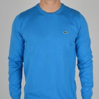 Lacoste Plain Crew Knit Sweatshirt AH8592 - Blue