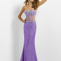 Sheer Bodice Fishtail-Back Fitted Prom Dress By Blush 9705