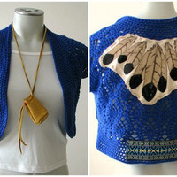 Crochet Shrug with Tribal Feather Applique, boho top, Upcycled clothing, size S/M