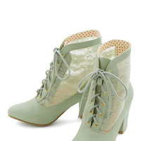 Lace Against Time Bootie in Mint | Mod Retro Vintage Boots | ModCloth.com