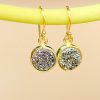 Druzy Earring,Gold Earrings,Geode Earring,Quartz earrings,Agate earrings,Silver earrings,mother jewelry,mom gift,woman gifts,gift idea,