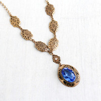 Antique Art Deco Blue Glass Necklace- 1920s 1930s Brass Black Enamel Pearl Jewelry