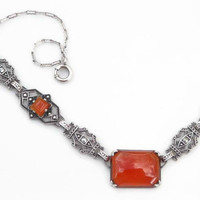 1920s Carnelian Necklace – Art Deco Carnelian Necklace - Antique Sterling Silver and Marcasite - Vintage Downton Abbey Style Jewelry - 16""
