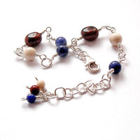 Sterling Silver Bracelet, Wire Wrapped Chain Links with Blue, White and Brown Semiprecious Beads, Artisan Jewellery