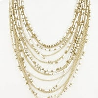 Multi Layered Seed Bead Necklace - Ivory/Gold