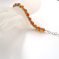 Amber Beads Bracelet with Sterling Silver Jumbled Rings as Spacers, Everyday Bracelet