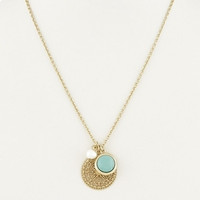 Gold Lace Pendant & Pearl Necklace - Turquoise