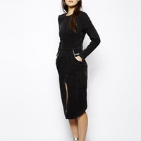 Jena. Theo Denim Midi Dress with Front Split and Leather Trim