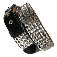 Four Row Black & Silver Pyramid Studded Belt