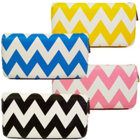 Chevron Striped Double Zip Wallet Clutch - Black, Blue, Pink or Yellow