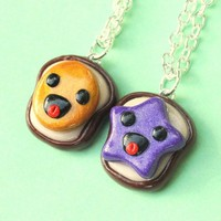 Handmade Super Happy Peanut Butter and Jelly Best Friend Necklaces